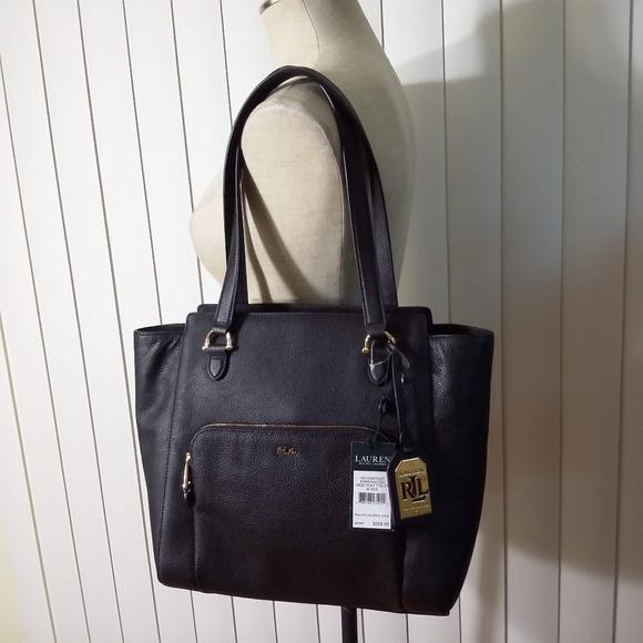 e93775c97615 New RALPH LAUREN LEATHER HARRINGTON BLACK TOTE Bag